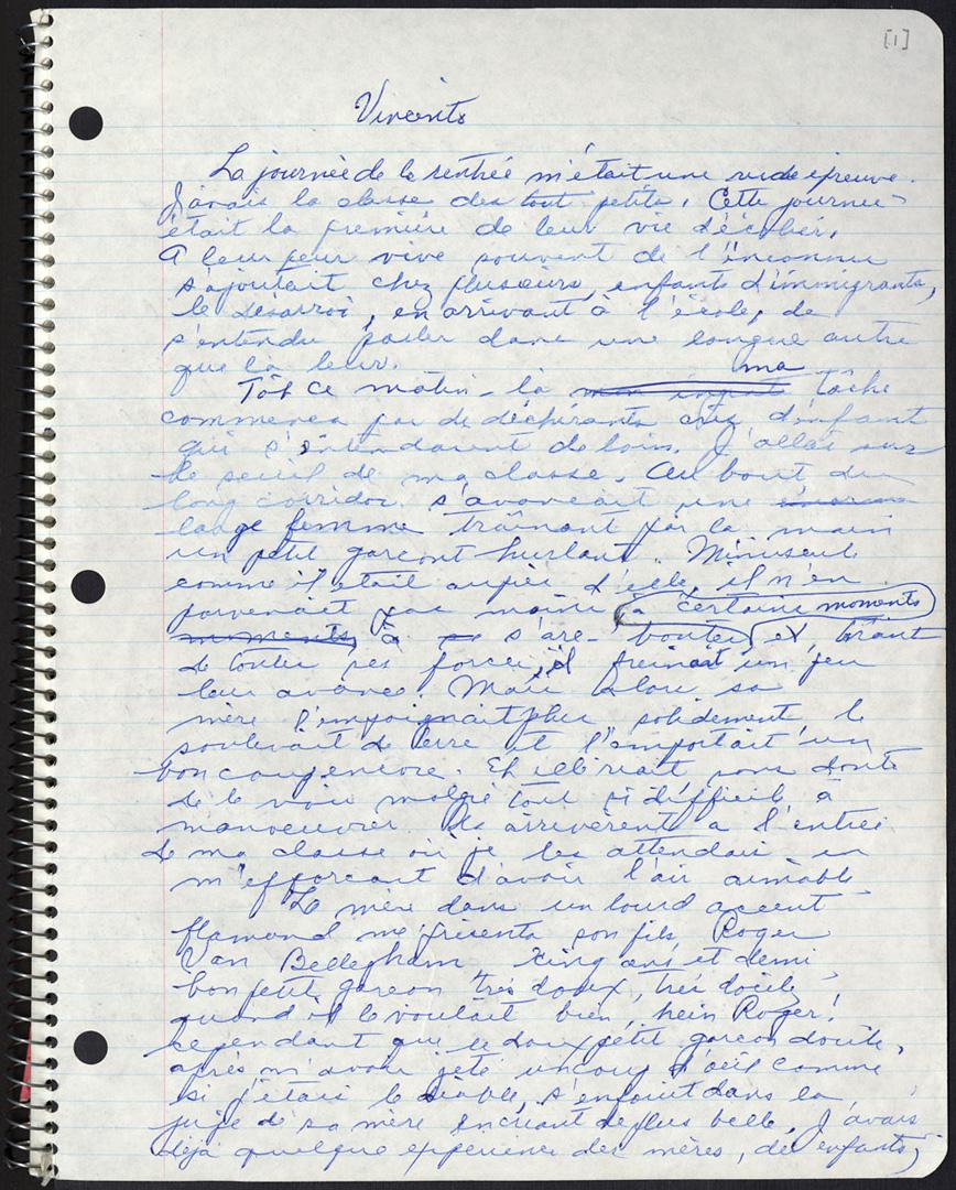 Manuscrit de Gabrielle Roy écrit à la main pour son livre « Ces enfants de ma vie ».