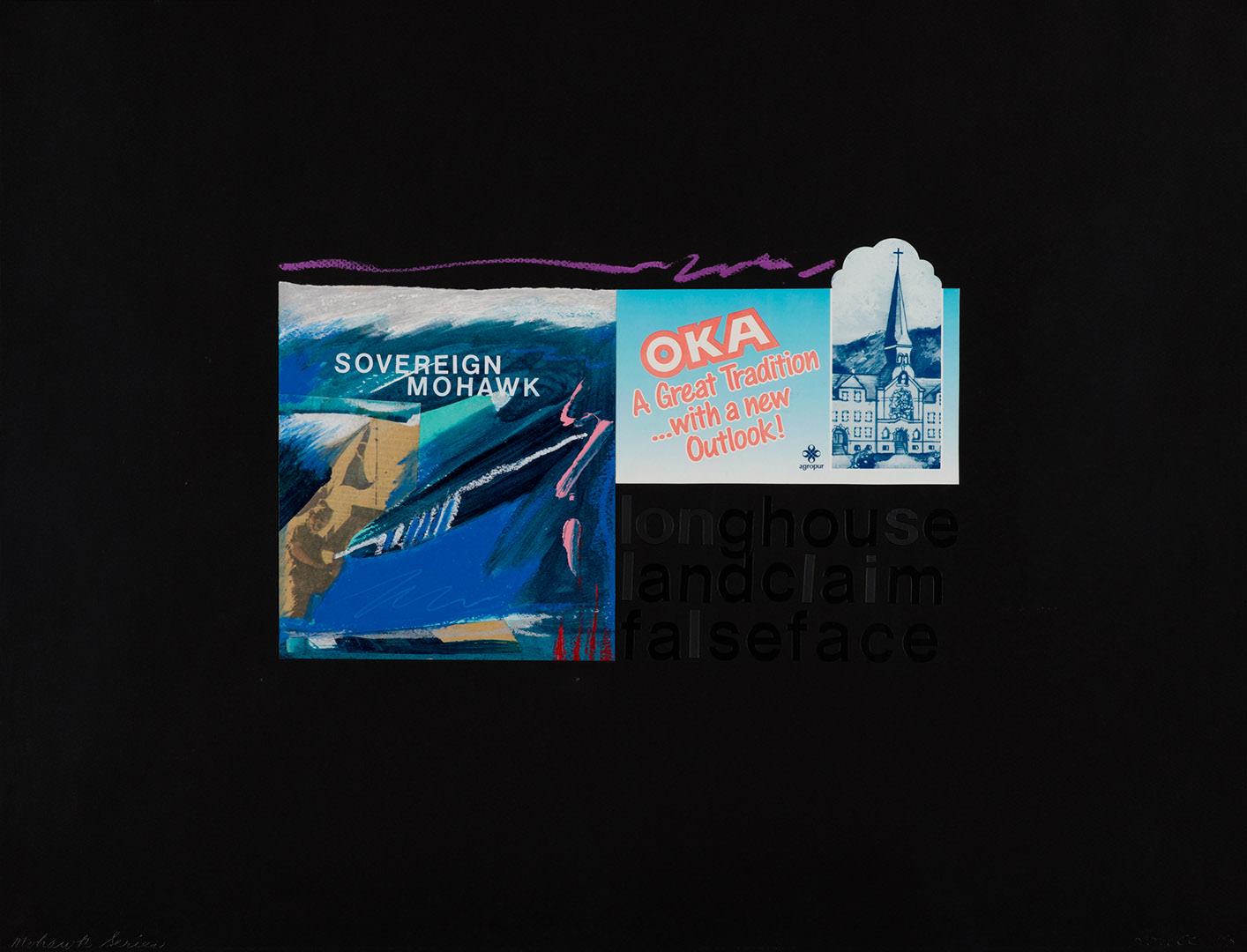 10 / 17 Oka (from Mohawk Summer Series) (1991) Robert Houle (1947 - ) Collage: étiquette, journal, etc. sur papier Collection : Banque d'art du Conseil des arts du Canada