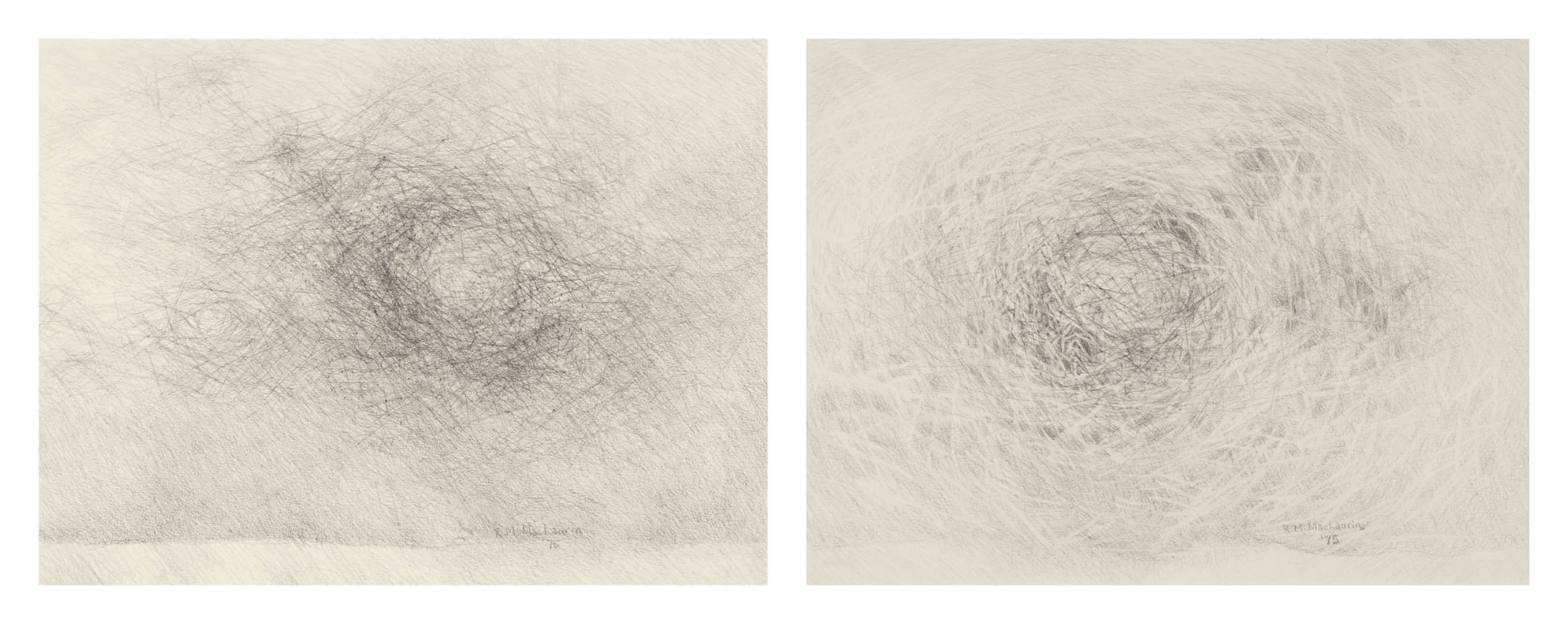Prairie Windscape (1975) & Sky Space (1975) Ruth MacLaurin (1942 - ) Graphite sur papier Collection : Banque d'art du Conseil des arts du Canada