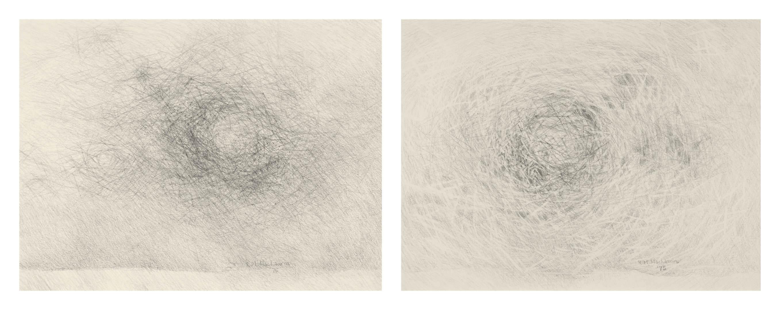 Prairie Windscape (1975) & Sky Space (1975) Ruth MacLaurin (1942 - ) Graphite sur papier Collection : Banque d'art du Conseil des arts du Canada