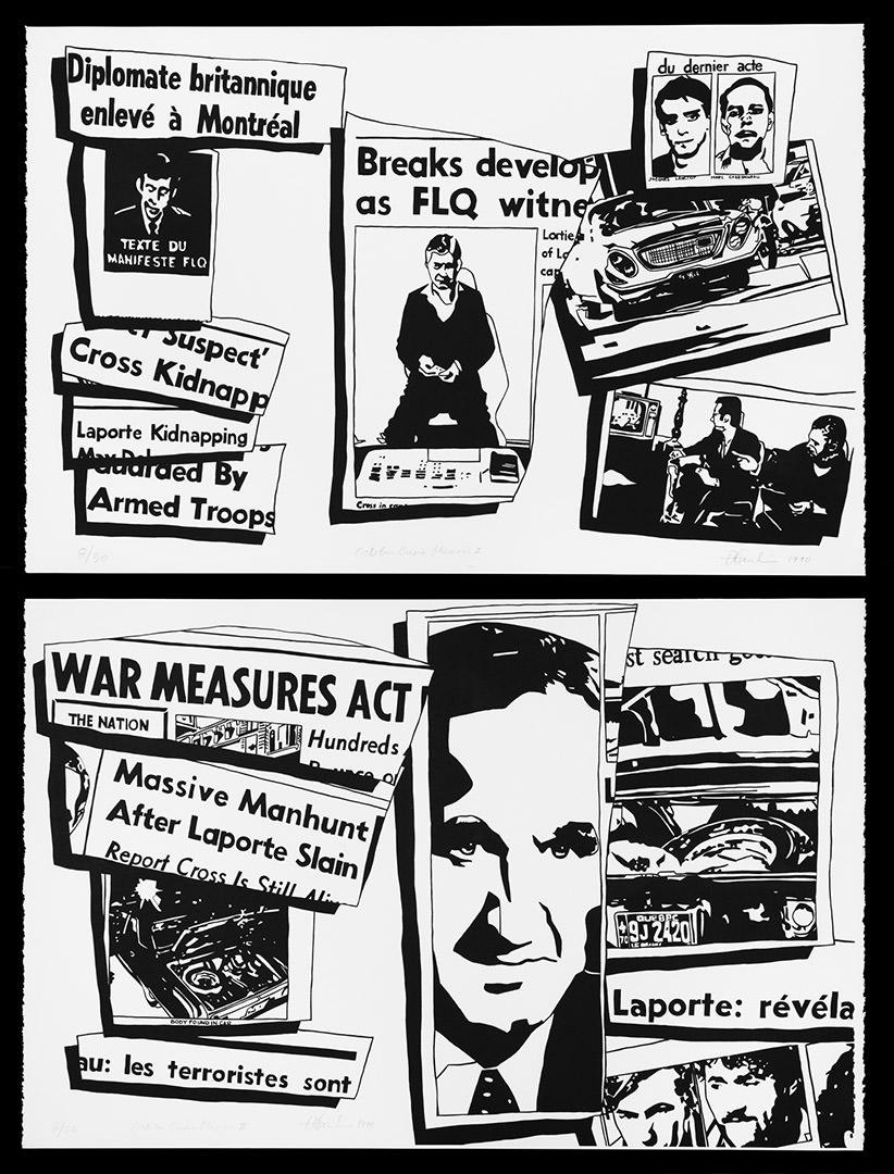 17 / 17 October Crisis Memoir #1 & #2 (1990) Dennis Tourbin (1946 - 1998) Sérigraphie Collection : Banque d'art du Conseil des arts du Canada