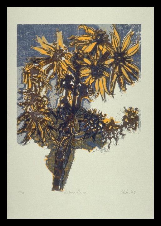 Alistair Bell, Autumn Flowers (1970). Gravure sur bois.
