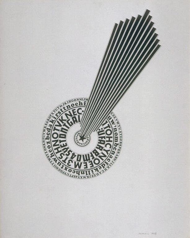 Michael Morris, Untitled/Sans titre (1968). Encre sur papier, fait partie de la série City Deluxe #1-9.