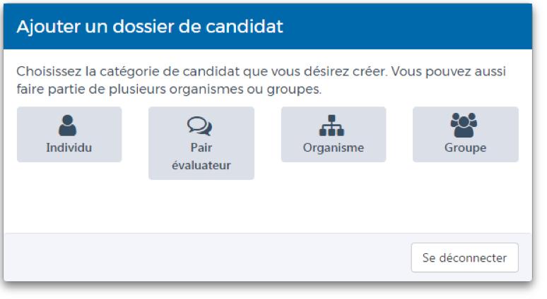 Capture d'écran Ajouter un dossier de candidat