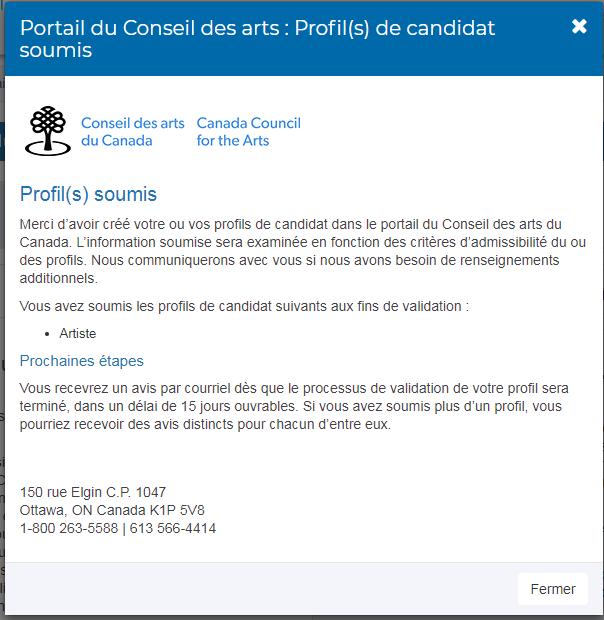 Capture d'écran Profil soumis