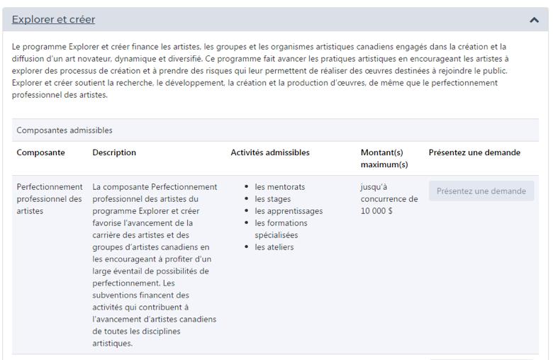 Capture d'écran Programmes disponibles