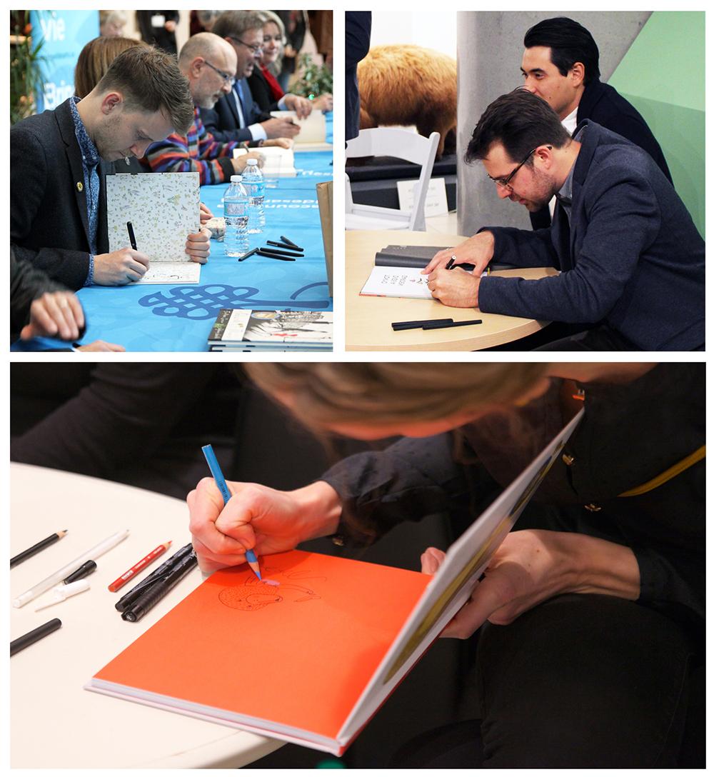 Les gagnants des LivresGG de 2014, 2015 et 2016 signent les livres de leurs admirateurs.