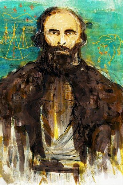 Un portrait de Gabriel Dumont. Il a un regard perçant et une barbe, et il porte une cape en fourrure sur les épaules. En arrière-plan, on peut voir des tipis et un bison.